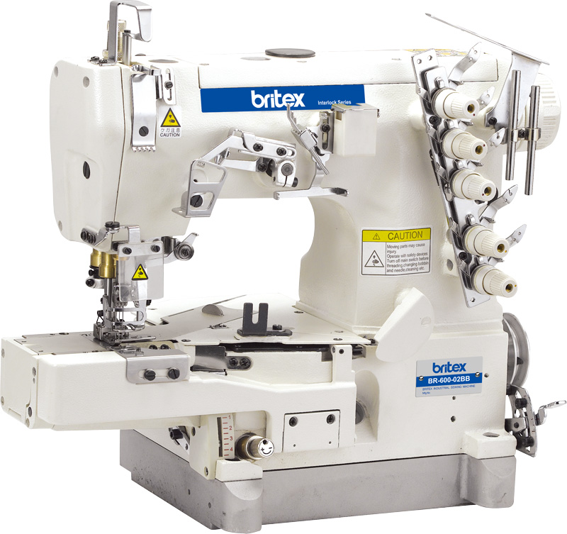Industrial High Speed Cylinder-bed interlock sewing machine with Tape Binding (Edge Rolling) - Brand: Britex, Model: BR-600-02BB.