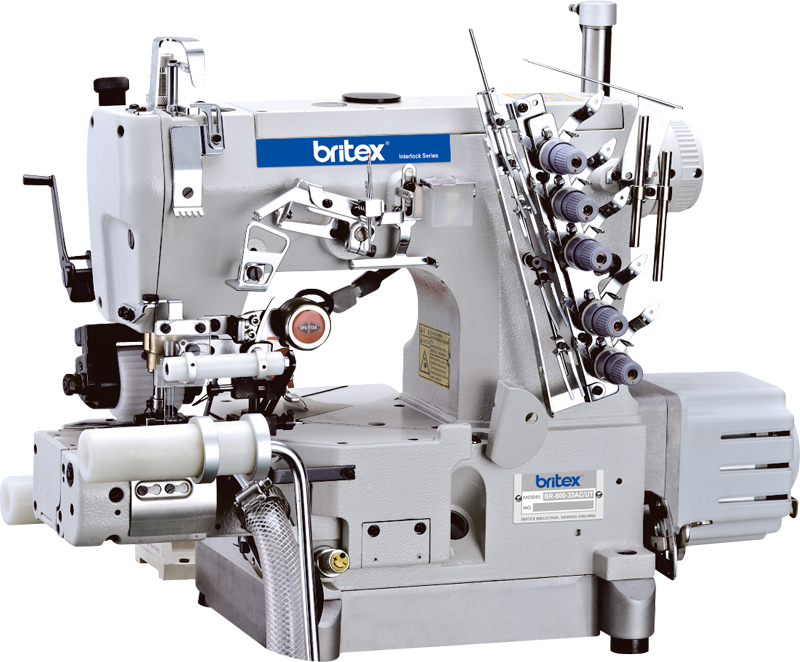 Direct drive high-speed Cylinder-bed interlock sewing machine with Right side cuter and auto trimmer - Brand: Britex, Model: BR-600-01AC/RP/UT.