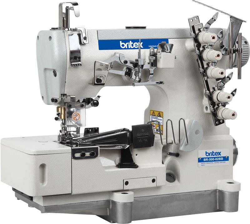 High Speed Direct Drive Flat bed interlock sewing machine for Tape Binding - Brand: Britex, Model: BR-500-02BB.
