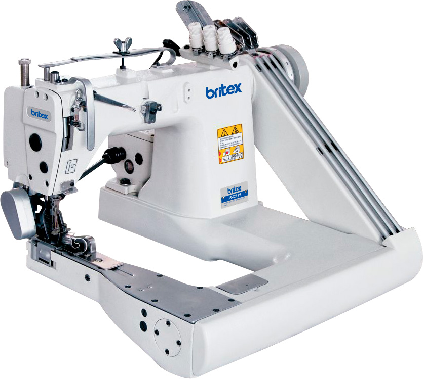 Feed-off-the-arm, Three Needle Chainstitch Sewing Machine, with Exterior Puller - Brand: Britex, Model: BR-928-PS / 02PS.