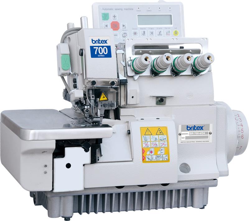 Máy Vắt Sổ Công Nghiệp Điện Tử, cắt chỉ nâng chân vịt tự động 02 kim 04 CHỈ - Hiệu: Britex, Model: BR-700-4D4